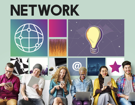 Group of people using digital devices with networking concept