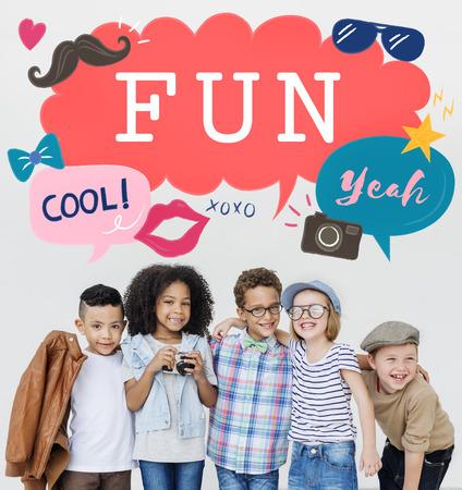 yeah: Kids Casual Joyful Independant Graphic Concept Stock Photo
