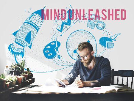 visualise: Mind Unleashed Ideas Creativity Imagination Concept Stock Photo