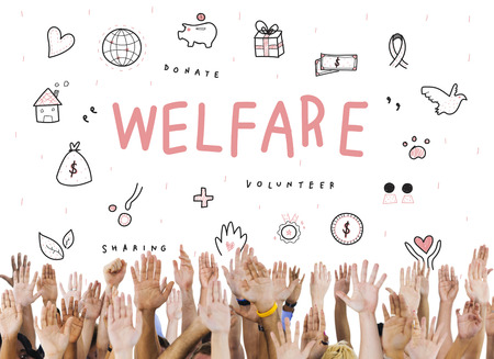 raise your hand: Welfare Donations Charity Foundation Support Concept