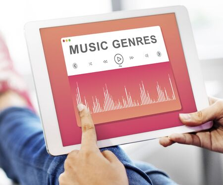 selecting: Selecting Music Relaxing Tune Concept Stock Photo
