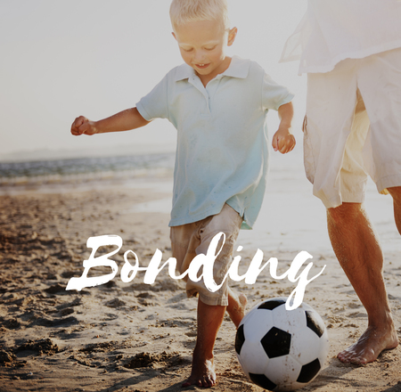 Man and boy outdoors with bonding concept