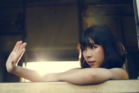 feminist: Asian Ethnicity Teen Feminist Posing Lady Girl Concept