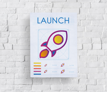 Poster on wall with launching concept Banque d'images - 110854115
