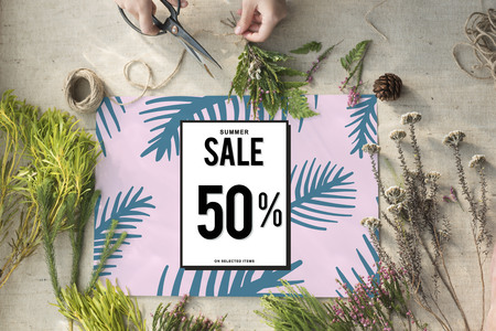 price cutting: Sale Discount Shopping Shopaholics Promotion Concept
