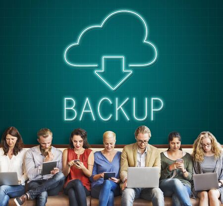 digital download: Backup Download Computing Digital Graphic Concept Stock Photo