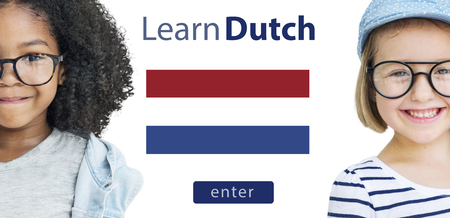 dutch girl: Learn Dutch Language Online Education Concept Stock Photo
