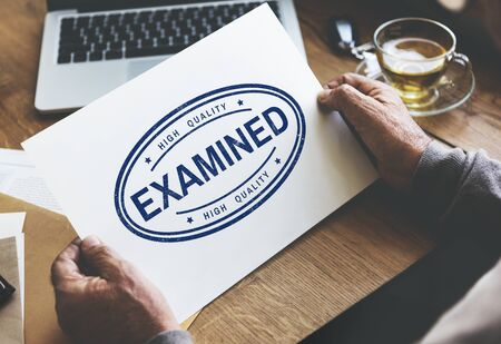 examined: Examined Authorised Certified Verified Approve Concept Stock Photo