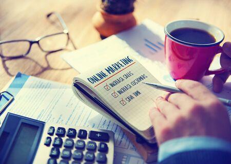 aims: Online Marketin Aims Plan Strategy Concept