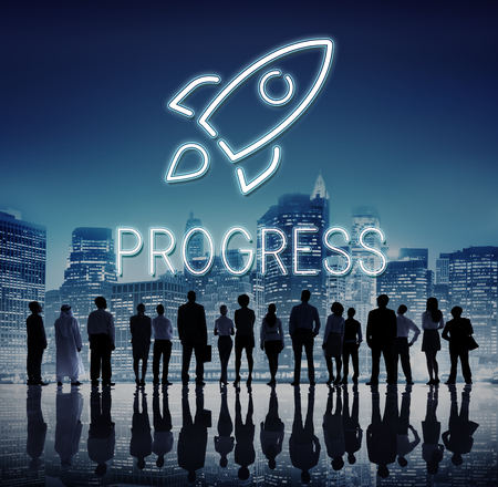 Business Goals Rocketship Target Concept Stock Photo
