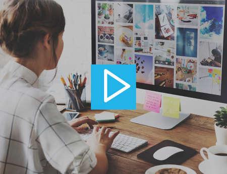 start play: Play Icon Start Beginning Forward Multimedia Concept Stock Photo