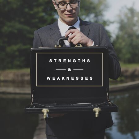 attache case: Strengths and Weaknesses SWOT Opportunities Threats Concept