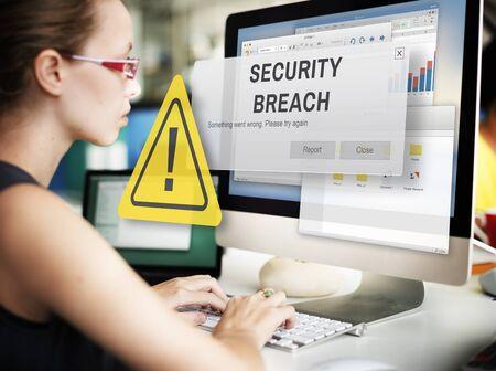 security breach: Security Breach Cyber Attack Computer Crime Password Concept Stock Photo