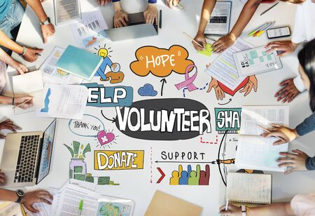 community service: Students Community Service Volunteer Concept Stock Photo