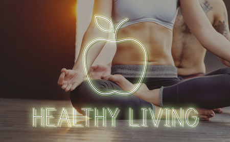 Woman doing yoga with healthy living concept