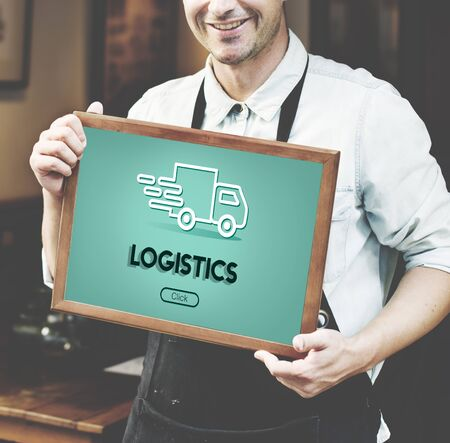 import export: Import Export Shipment Truck Graphic Concept