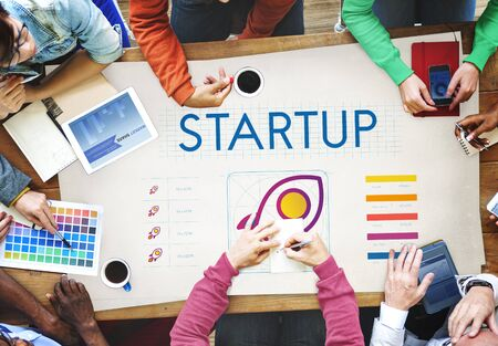 small business woman: Startup Business Entrepreneurship Launch Concept