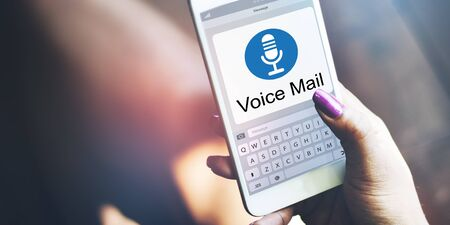 using voice: Voice Mail Message Notification Communication Concept