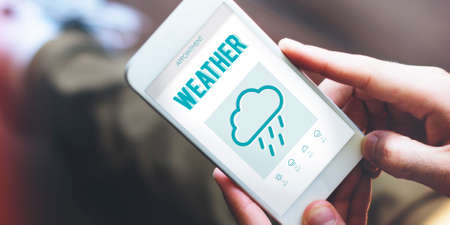 foresee: Weather Forecast Rainy Cloud Concept Stock Photo