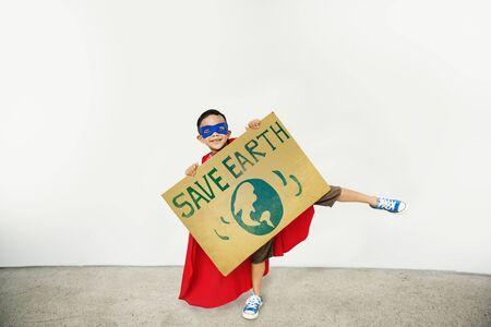Save Earth Global Environment Boy girl Concept Stock Photo