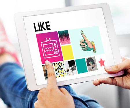 coincidir: Like Love Share Agree Follow Enjoy Ideas Concept Foto de archivo