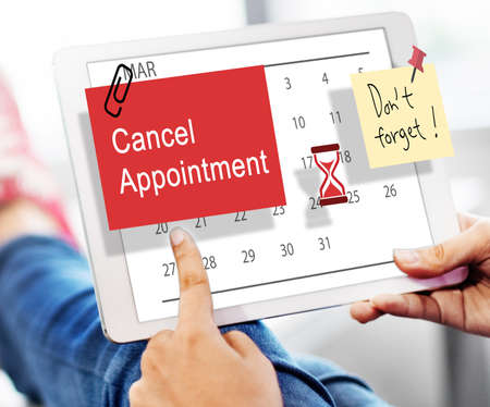 schedule system: Cancel Appointment Note Calendar Planner Concept Stock Photo