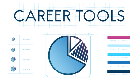 Pie chart with career tools concept