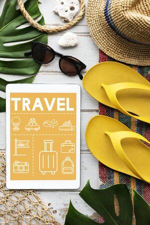 Travel Navigation Reisvakantie Tablet Concept