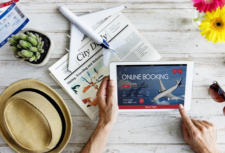 Air Ticket Flight Booking Concept Banco de Imagens