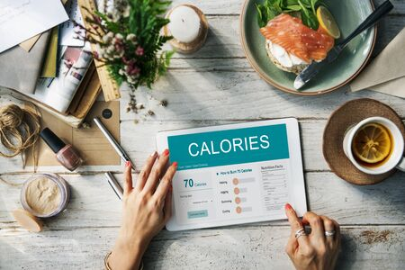Concepto Ejercicio calorías Nutrición Alimentación Foto de archivo