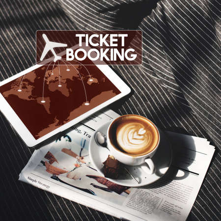 Flight Ticket Booking Destination Journey Concept Stock Photo