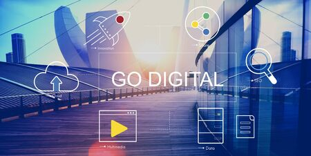 urban area: Digital Technology Icons Graphic Concept Stock Photo