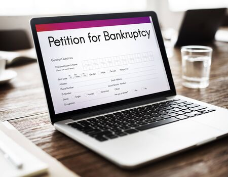 owed: Petition Bankruptcy Debt Loan Overdrawn Trouble Concept