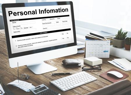 Personal Information Data Application Form Concept Foto de archivo