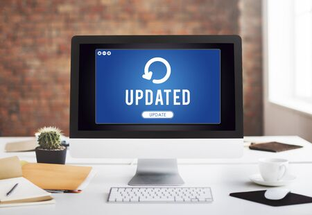 the latest: Update Upgrade Installation Latest Updating Concept Stock Photo