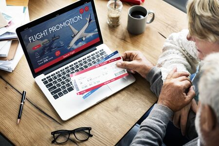 air ticket: Air Ticket Flight Booking Concept Stock Photo