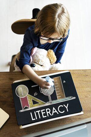 geeky: Academic Knowledge Literacy Wisdom Education Concept Stock Photo