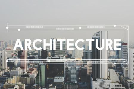 urban scene: Modern Building Architecture Capital City Words Graphic Concept
