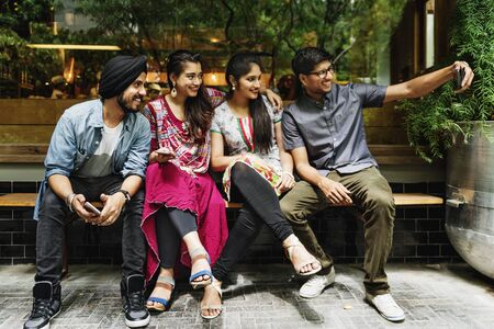 Indian Friends Hangout Taking Picture Concept Stock Photo