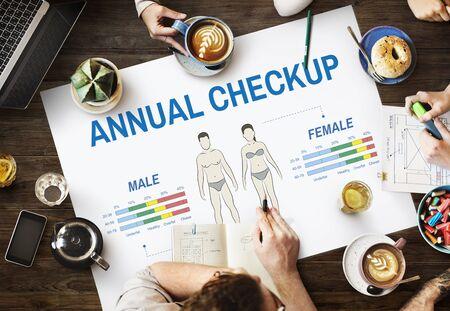 Health Check Concepto Biología Chequeo anual Cuerpo Foto de archivo