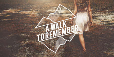 recordar: Walk Remember Information Memory Recalling Concept Foto de archivo