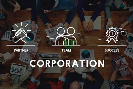etnia: Concepto de negocios trabajo en equipo Colaboración Corporación Foto de archivo
