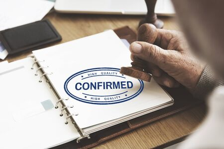 approval: Comfirmed Approval Result Certified Authorised Concept Stock Photo