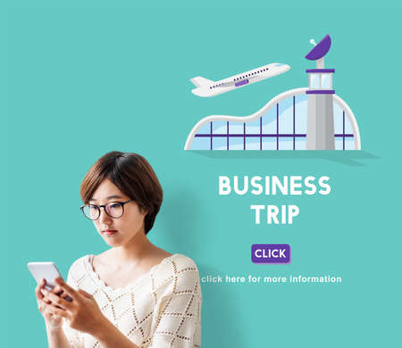 business travel: Business Trip Flights Travel Information Concept Stock Photo