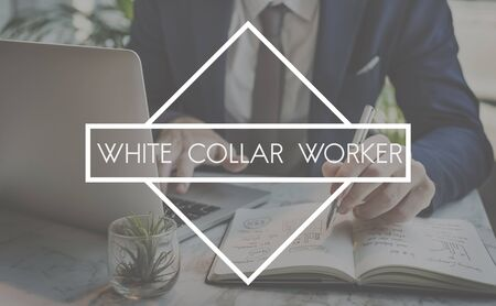 white collar: White Collar Worker Staff Employee Administrator Business Concept