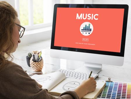 beat women: Music Melody Rhythm Instruments Vocal Sound Concept