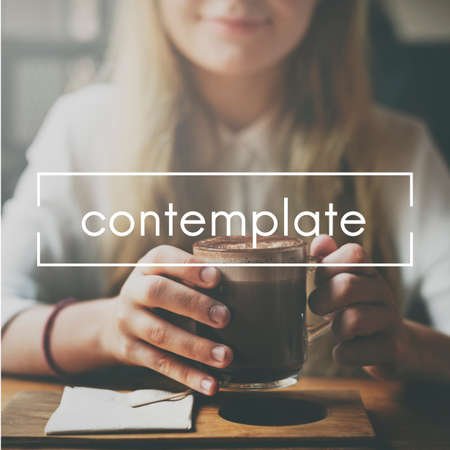 ruminate: Contemplate Ponder Consider Ruminate Think Concept Stock Photo