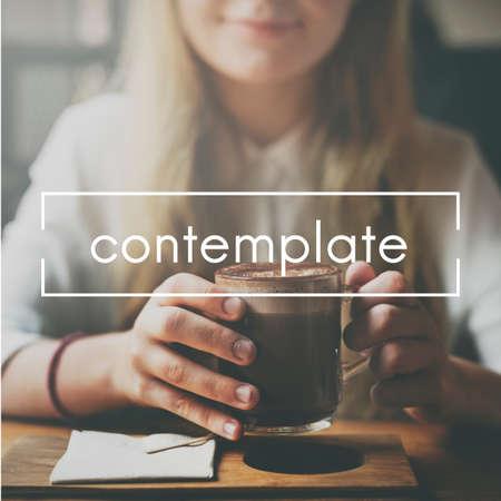 ruminate: Contemplate Ponder Consider Ruminate Think Concept Stock Photo