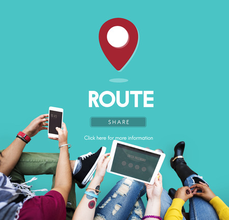 campus tour: Route Map Navigation Track Places Concept
