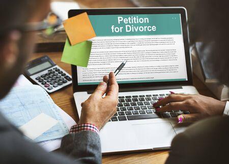 despair: Petition Divorce Arguing Conflict Despair Breakup Concept
